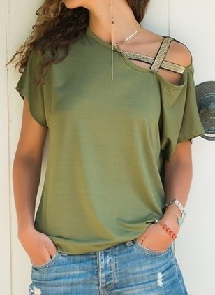 Solid Casual Cotton Oblique Neckline Short Sleeve Blouses