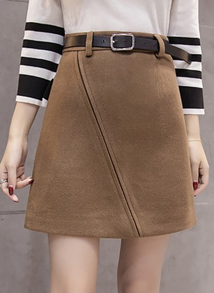 Cotton Solid Above Knee Casual Sashes Zipper Skirts