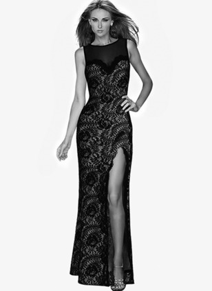 Solid Lace Sleeveless Maxi Sheath Dress
