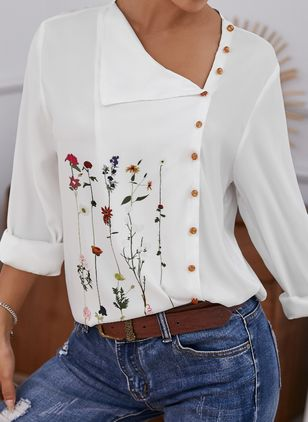 Floral Casual Oblique Neckline Long Sleeve Blouses (146979422)