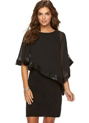 Solid Sequins 3/4 Sleeves Above Knee Shift Dress