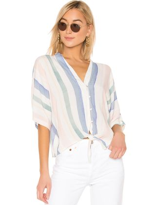 Color Block Casual V-Neckline Half Sleeve Blouses