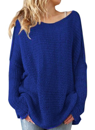 Round Neckline Solid Long Sweaters