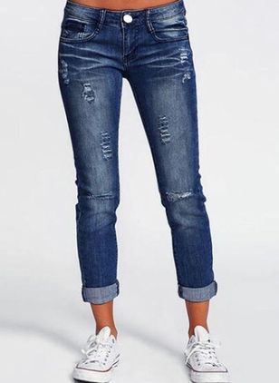 Casual Skinny Buttons Pockets Mid Waist Denim Jeans (1525979)