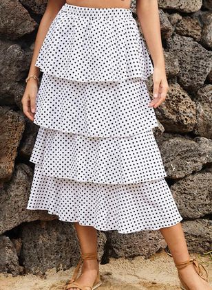 Polka Dot Knee-Length Casual Ruffles Skirts (4047704)