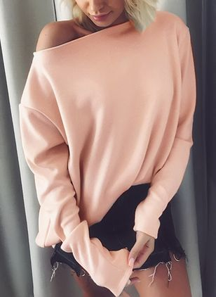 Solid Sexy Oblique Neckline Long Sleeve Blouses
