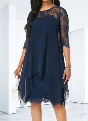 Casual Solid Ruffles Round Neckline Shift Dress