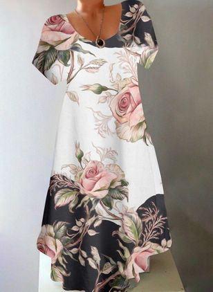 Casual Floral Tunic Round Neckline A-line Dress (147150266)