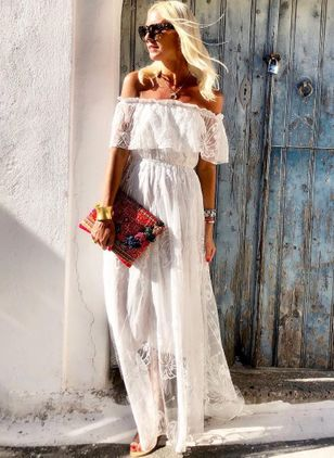 Solid Lace Peasant Maxi X-line Dress