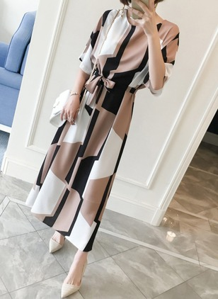 Color Block Bow Half Sleeve Maxi Shift Dress
