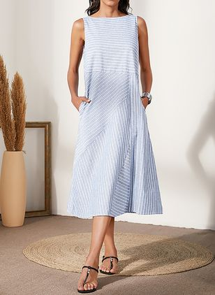 Casual Stripe Tunic Round Neckline Shift Dress (4864847)