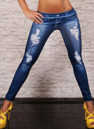 Straight Polyester Jeans Pants & Leggings