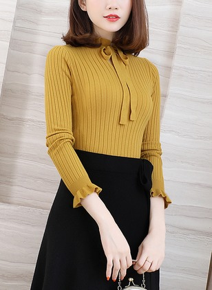 Cotton High Neckline Solid Tight Bow Sweaters