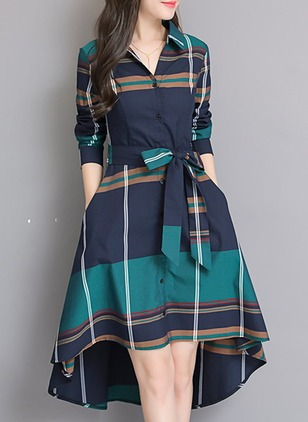 Color Block Long Sleeve High Low A-line Dress