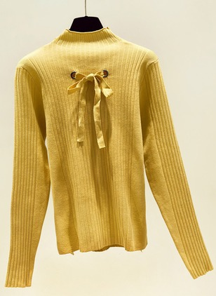 High Neckline Solid Tight Others Sweaters