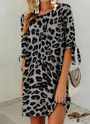 Casual Leopard Tunic Round Neckline Shift Dress (104147453)