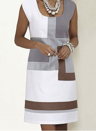Casual Color Block Square Neckline Knee-Length Shift Dress (1536030)