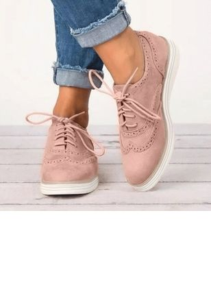 Women's Lace-up Closed Toe Nubuck Flat Heel Flats