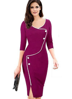 Solid Pencil Long Sleeve Knee-Length Sheath Dress