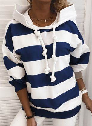 Color Block Casual Hooded Sweatshirts (104917821)