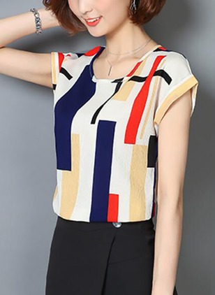 Color Block Casual Chiffon Round Neckline Short Sleeve Blouses