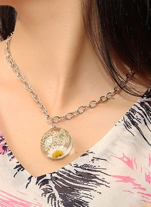 Casual Round No Stone Pendant Necklaces (107805634)