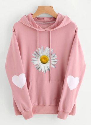Floral Casual Hooded Pockets Sweatshirts (107952754)