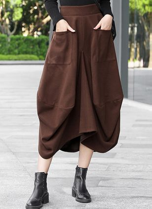 Solid Mid-Calf Casual Pockets Skirts (107805029)