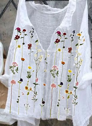 Floral Casual V-Neckline Long Sleeve Blouses (147019256)