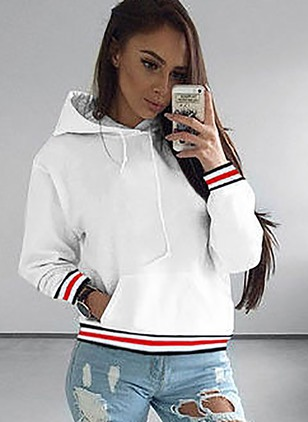 Solid Casual Hooded Pockets Sweatshirts