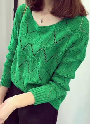 Round Neckline Solid Regular Hollow Out Sweaters