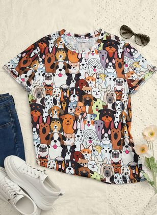 Animal Round Neck Short Sleeve Spring T-shirts (146643205)