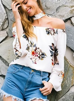 Floral Sexy Boat Neckline Long Sleeve Blouses