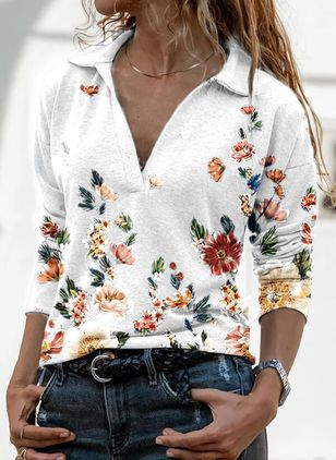 Floral Casual Collar Long Sleeve Blouses (122028734)