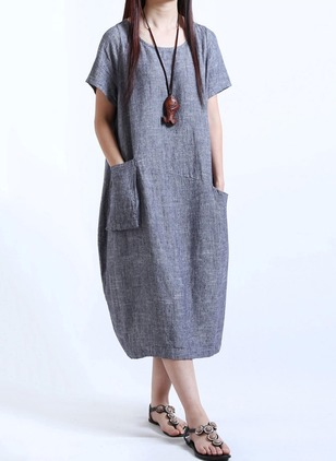 Solid Pockets Peasant Midi Shift Dress