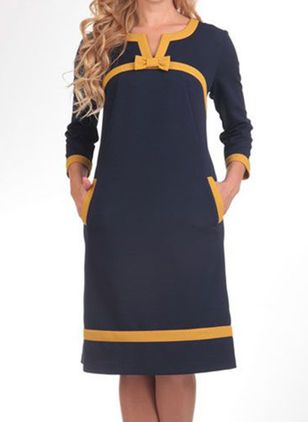 Casual Color Block Tunic V-Neckline A-line Dress (112602071)
