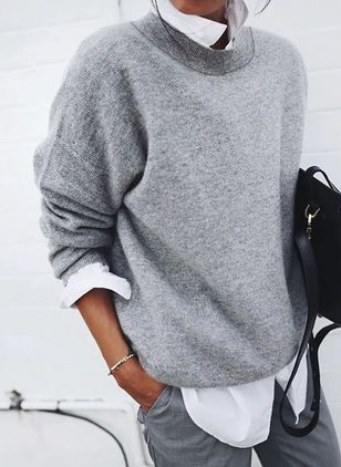 Collar Color Block Elegant Loose Regular Shift Sweaters