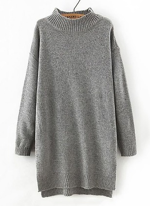 Knitted High Neckline Solid Long None Sweaters
