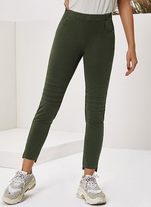 Casual Skinny Mid Waist Cotton Blends Leggings (128229559)