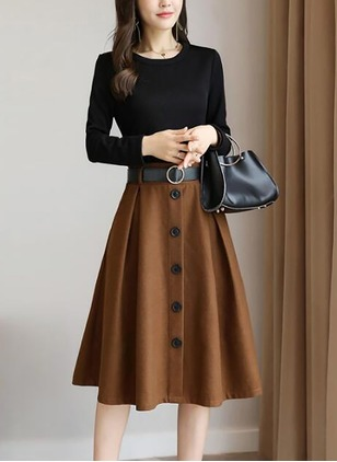 Polyester Color Block Long Sleeve Midi Dresses