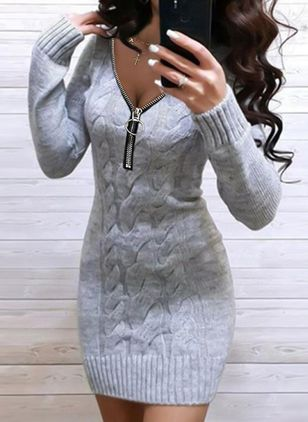 Casual Solid Sweater V-Neckline Bodycon Dress (146745178)