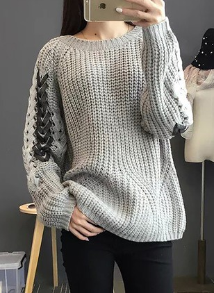 Wool Round Neckline Loose None Sweaters