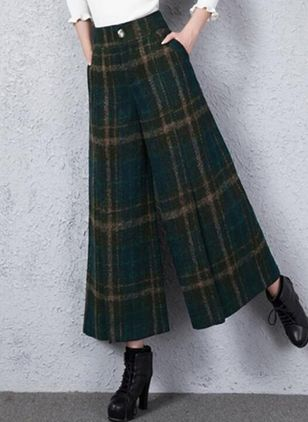 Tartan Maxi Casual Pockets Skirts