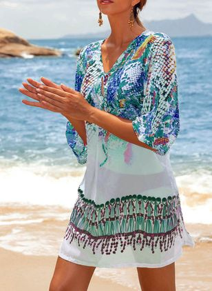 Polyester Pattern Floral Cover-Ups Swimwear (1347847)