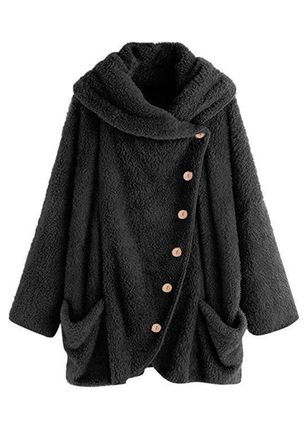 Long Sleeve V-neck Buttons Pockets Fur Coats (103038451)