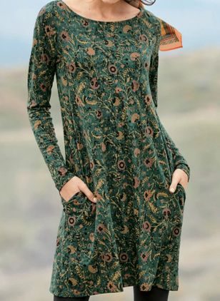 Casual Floral Tunic Round Neckline Shift Dress (112602057)