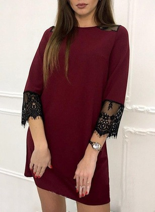 Color Block Lace 3/4 Sleeves Mini Shift Dress
