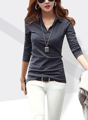 Cotton Solid Collar 3/4 Sleeves Casual T-shirts & Vests