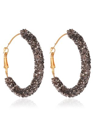 Casual Round Gemstone Hoop Earrings (147083675)