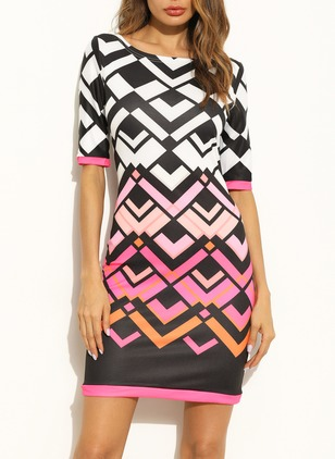 Polyester Color Block Half Sleeve Above Knee Dresses